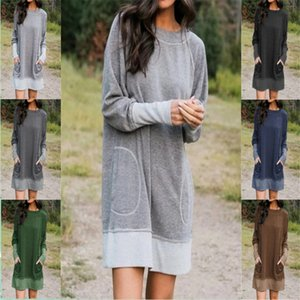 Plus Size Womens Dresses Patchwork O Neck Long Sleeve Loose Dress for Woman Casual Female Robe with Pockets