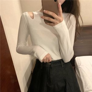 Basic Women Knitted T-shirt Autumn Winter Fashion Dew Shoulder Long Sleeve Slim Tee Shirts Woman Casual Tops