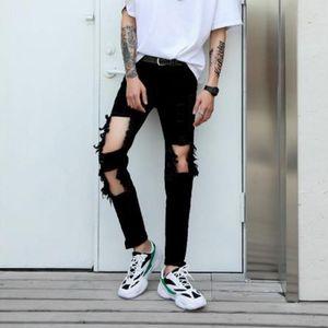 Jeans maschili Primavera / Estate European American Pantaloni mendicanti Pantaloni strappati Pantaloni Slim Slim Skintight Slacks Hip-Hop Punk Black Hole