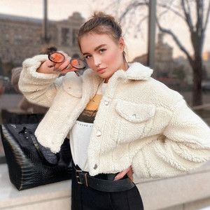 Lamb Wool Coat Jacket For Women Thick Fleece Shaggy Warm Cropped Jackets Overcoat Single Breasted Outwear With Pockets