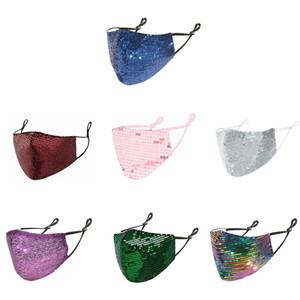 Sequins Maske Moda Bling 3D Yıkanabilir Kullanımlık Maske PM2.5 Yüz Kalkanı Güneş Renk Altın Ayarlanabilir Yüz Kapak Maskeleri Ağız
