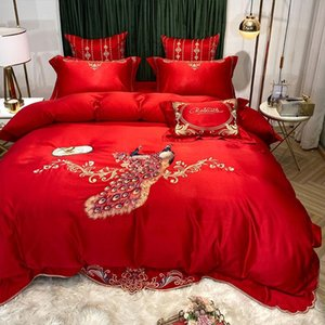 Duvet Cover Red Wedding Silk Bed Sheet Four-piece Cotton Peacock Embroidered Quilt Cover Cotton European-style Simple Bedding