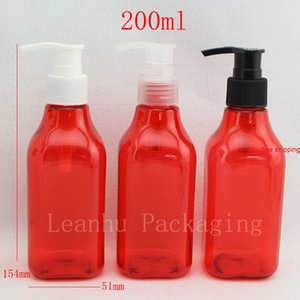 200ml X 24 red square empty plastic bottles with lotion pump ,200cc cosmetic packaging PET bottle for personal care wholesalebest qualtity