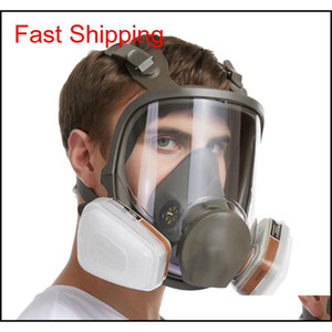 Mask 6800 7 In 1 6001 Gas Mask Acid Dust Respirator Paint Pesticide Spray Silicone Filter Laboratory Cartridge Welding Aijtl