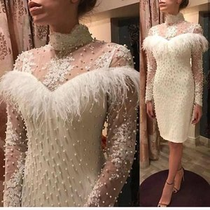 White Short Prom Dresses Pearls Beaded Long Sleeves African Cocktail Party Gown High Neck Knee Length Evening Gowns With Feathers