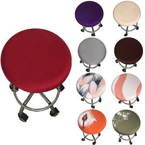 2021 Poltrona rotonda Coperchio da bar Sgabello Sgabello Sedile elastico Sedia da casa Slipcover Sgabello da bar rotondo Sgabello floreale stampato