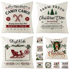 Christmas Series Flax Pillow Case Xmas Small Bell Printed Pillowcases Christmas Sofa Cushion Christmas Decorations Designs 30 Styles XTL188