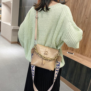 Trend Chain Crocodile Square Bag for Women's Luxury PU Leather Wide Shoulder Strap Bag with Lock Casual Lady Solid Color Handbag