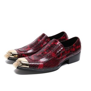 Hot Sale New Red Snakeskin Men Oxford Business Shoes Party Wedding Square Head Slip-On Shoes Office Career Men's Luxury Flats