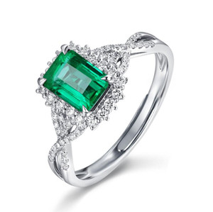 New Sparkling Luxury Jewelry 925 Sterling Silver Princess Cut Emerald Gemstones Open Adjustable Ring Women Wedding Band Ring For Lover Gift