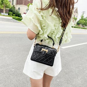 2020 new Korean hand handstyle rhombus messenger womens fashionable embossed wild square bags women design crossbody magnetic shoulder bags