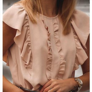 H25 Fashion Pink Ruffles Womens Blouses Summer Round Neck Solid Color Ruffled Sleeve Shirt Tops And Blouse Office Ladsies