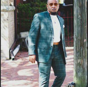 Classic Green Check Plaid Plus Size Pantaloni da uomo Suits su misura Ademptato a un pulsante Groom Best Man Coat Blazer 2 PCS (Giacca + Pantaloni)