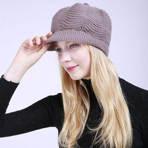 Womens Newsboy Hat 토끼 모피 니트 겨울 양모 모자 편안한 따뜻한 고전 모자 여자 패션 유행 모자