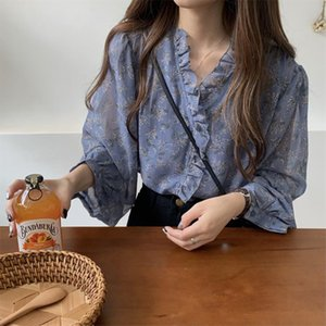 Girls Ruffles Printing Chiffon Blouses Shirts Tees Female Full Lantern Sleeve Sweet Summer Blouses Tops For Women