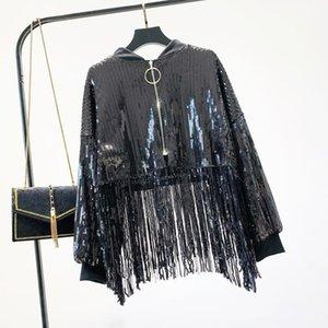 Светованная бомбардировщик с кисточкой 2020 осенью женщин Bling Gold Coats High талия панк свободные куртки Shinny Tops куртка