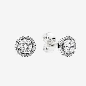 Big CZ Diamond Footing Pendientes de boda Joyería de verano para 925 Sterling Silver redondo Sparkle Halo Stud Pendientes con caja