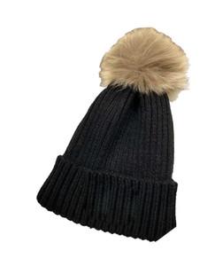 Skullies Hat Hip Hop Womens Knitted Fur Hats Breathable Cotton Beanies Caps Warm Cotton Bobble Winter Hat