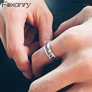 Foxanry 925 Sterling Silber Ringe für Frauen Neue Mode Vintage Weaving Chian Englisch Brief Elegante Geburtstagsfeier Schmuck Geschenk1