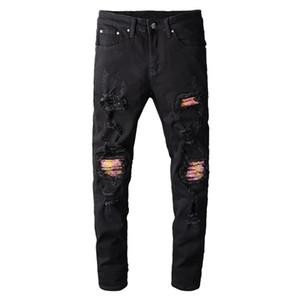 Sokotoo Men's Pink Bandanna Patchwork Biker Biker Jeans Black Stretch Denim Foles Strappato Pantaloni Skinny C1123