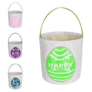 New Easter Basket Sequin Patch Easter Gift Bag Round Bottom Easter Egg Storage Basket for Kids Party Supply RRA3945