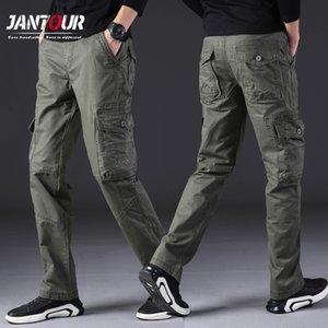 Jantour 100% Cotton Men Military Cargo Pants Men Army-green Trousers Male Casual Many Pockets Stretch Cotton Pants 4 colour X1217