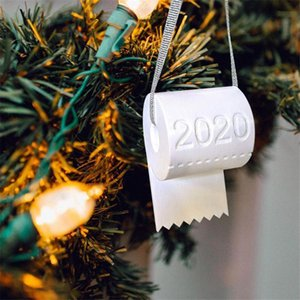 New 2020 Christmas Ornament Toilet Paper Christmas Tree Decoration Pendant Toilet Paper Decoration Hanging DIY Window Ornaments