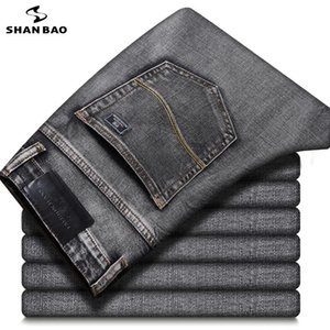 SHAN BAO classic patch embroidery men's fitted straight business casual jeans spring brand cotton stretch smoky gray denim jeans