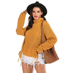 Womens Sweater Long Sleeve Lace-Up Pullover Sweaters Turtleneck Solid Color Loose Jumper Tops Casual Fashion Style