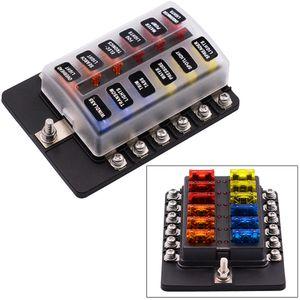12V 12 Way Circuit Auto Fuse Box Holder With Led Indicator For Car Marine Bus CS-579A4