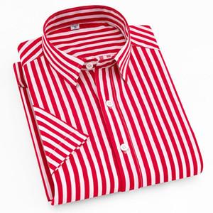 Aoliwen brand men Summer Men's Short Sleeve Striped Shirt men casual shirt printing high street Flannel fashion Slim fit shirts