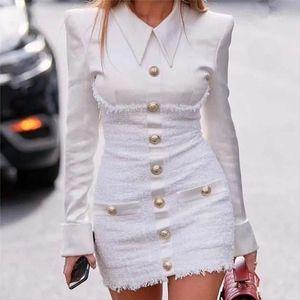 Blazer Dress Women Long Sleeve Bodycon Elegant Robe Blazer Dress Vintage Office Pencil ladies White Fitted Mini Dresses