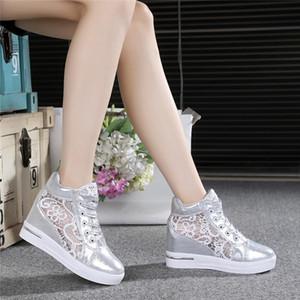 Las mujeres del verano mujer de los zapatos de malla transpirable zapatillas de deporte de los holgazanes de los talones gruesos Pisos cordón de cuñas de la plataforma Casual enredaderas Confort