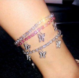 Fashion Butterfly Anklet Iced Out Ankle Bracelets Gold Silver Tennis Chain Anklets Womens Hip Hop Jewelry