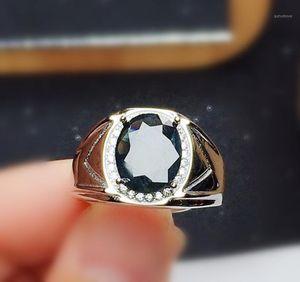 Homens anel natural safira preta real ou granada anéis grandes por jóias 4ct gemstone 925 esterlina prata fina jóias x20916121