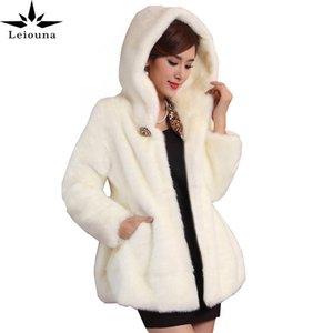 Leiouna Plus Size Slim New Fashion Winter Fur Coat Female Mid-length Coat Hooded Jacket Clothing Women Thick Warm Parka