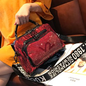 Wholesale diamond studded womens handbags shoulder bag crossbody bag bright with genuine leather tote bag fashion multi purpose backpack