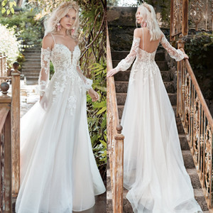 Fashion Long Sleeves Lace Backless Wedding Dresses Beaded V Neck A Line Sequined Bridal Gowns Tulle Sweep Train robe de mariée