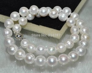 Outstanding luster Natural white 11-12mm round cultured Pearl Necklace