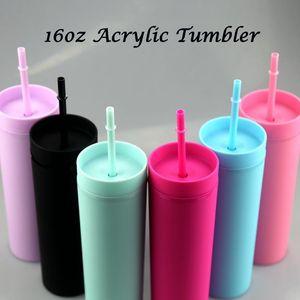 Cadeaux de Noël Tumbler maigre acrylique 16oz Double mur en plastique à boire de la tasse de consommation avec une tasse portable simple de paille