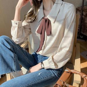 Lucyever Elegant Bowknot Apricot Chiffon Blouse Women Plus Size 2XL Office Lady Dot Pattern Women's Shirt Slim Fit Button Tops