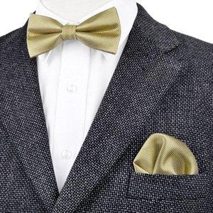 BF15 Spedizione gratuita Solido Seminato Gold Gold Yellow Mens Pre-leccato Tuxedo Bow Tie Hanky 100% Seta regolabile all'ingrosso Casual Party di nozze