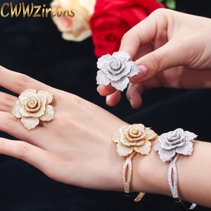 CWWZircons Luxury Cubic Zirconia Large Gold Geometric Flower Women Wedding Party Rings and Bangle Jewelry Sets for Brides T323 201123