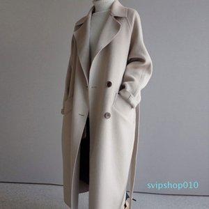 Winter Coat Women Wide Lapel Belt Pocket Wool Blend Coat Oversize Long Trench Outwear Wool Women