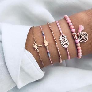 5 Pcs Set Boho Women Pineapple Tassels Dreamcatcher Heart Coconut Tree Chain Bead Leather Bracelet Set Charm Fashion Accessories