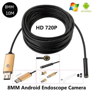 Lente de 8 mm Android USB Endoscope 2M / 5M / 10M 6 LEDS Inspección OTG Borescope Endoscop Mini cámara impermeable para PC de Android