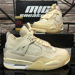 Top Quality Pair Crema Sail Bred Union Off Nor Jumpman 4 Mens Scarpe da basket Cactus Jack Bianco Cemento Bianco Guago Guago Ice Mens Sneakers sportivi