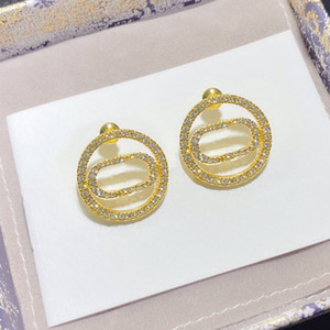 Fashion hoop Diamond round earrings aretes orecchini for women party wedding lovers gift jewelry engagement with box HB1211