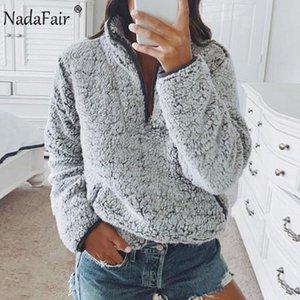 Nadafair Hoody Ladies Sweatshirt Winter Gray White Fleece 푹신한 대형 까마귀 여성 캐주얼 따뜻한 가짜 모피 풀오버 Y200610