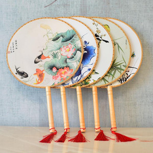 الصينية خمر جولة اليد مروحة ريترو حفل زفاف هدية مروحة الكلاسيكية الرقص المشجعين زهرة طباعة المشجعين الصيني الرقص دعامة بالجملة AHD3657